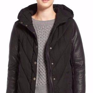 BLANKNYC Mixed Media Hooded Jacket